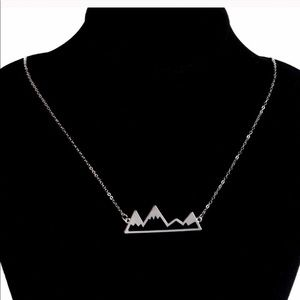 Mountain Silhouette Necklace Silver